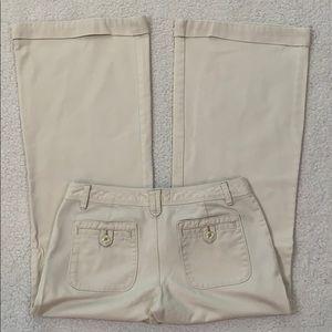 Old Navy Lowest Rise Wide Leg Creme Cotton Pants